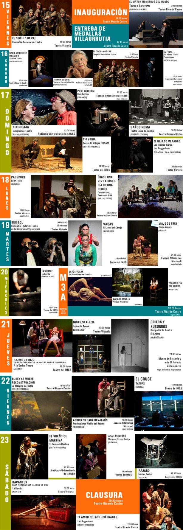 Programación de la Muestra Nacional de Teatro 2013 en Durango
